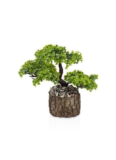 Çiçekmisin Taşlı Kütükte Minyatür Yapay Ağaç Yeşil